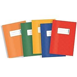 Herma 20209 - Copertina per quaderno, formato A4, in plastica, set da 5 pezzi, con 1 cucitrice blu, rosso, verde, giallo, arancione