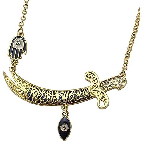 Prestige Islam turco Imam Ali mano di Hamsa e occhio greco, con ciondolo, placcati in oro 18 k