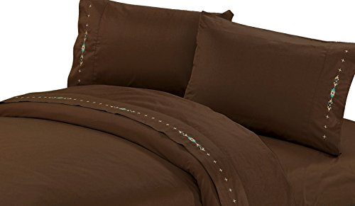 HiEnd Akzente Bestickt Navajo-Bettlaken-Set, Full, Schokolade -