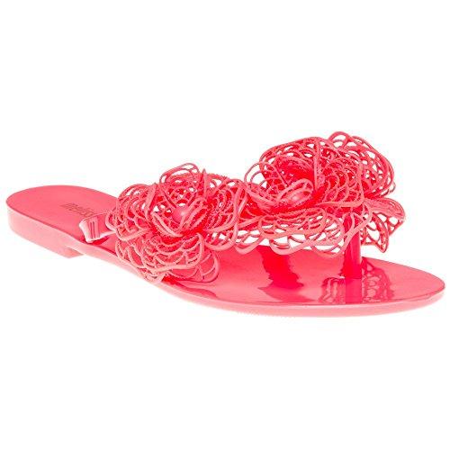 Melissa Shoes Harmonic Garden Flower Flip Flop, Pink Neon Pink
