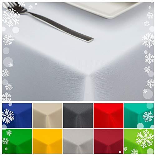 StoffTex Tischdecke Tischläufer Tischtuch Tischwäsche Tischdekoration Tafeltuch (Weiß, 140 x 240 cm)