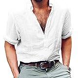 Rera Herren Sommer Leinen Hemd Dünne Leicht Kentkragen Slim Fit Langarm Strand Hemd Bequem Atmungsaktiv Langarmshirt Freizeithemd (3XL, Weiß 1)