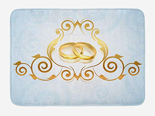 JIEKEIO Wedding Bath Mat, Vintage Style Victorian Ornaments on Blue Backdrop Rings Classical Celebration, Plush Bathroom Decor Mat with Non Slip Backing, 23.6 W X 15.7 W Inches, Pale Blue Gold