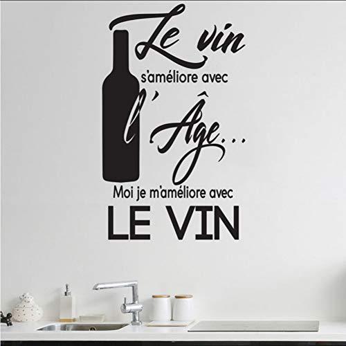 (Mhdxmp)Küche Aufkleber Zitate In Französisch Le-Vin-S-Ameliore-Avec-L-Age Mode Küche Vinyl Aufkleber Esszimmer Dekoration Diy Deco42 * 69Cm