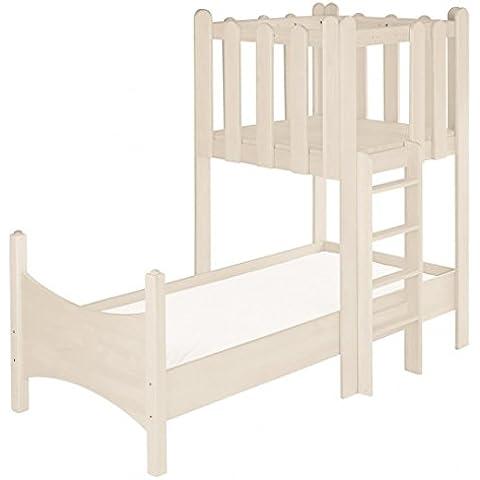 Ahorro Conjunto: cama Noah blanca con la torre. Pino Biológico