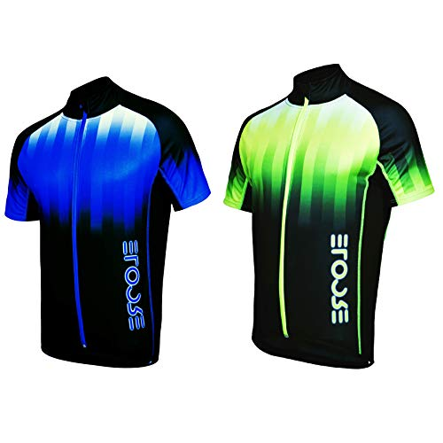 Ercole Herren Radtrikot Thermoaktive Thermo Fahrradbekleidung Schnell Trocken Fahrrad Trikot Kurzarm Blau Neon (M, Blue) -