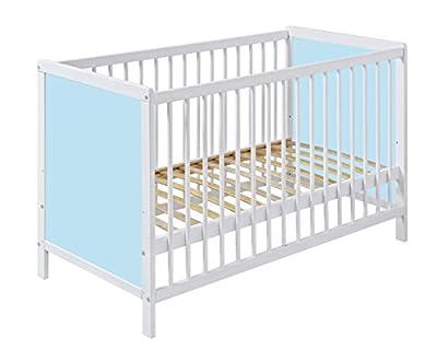Cuna bebé 120cm x 60cm de madera color BLANCO con lados CELESTES. ENVÍO GRATIS!!