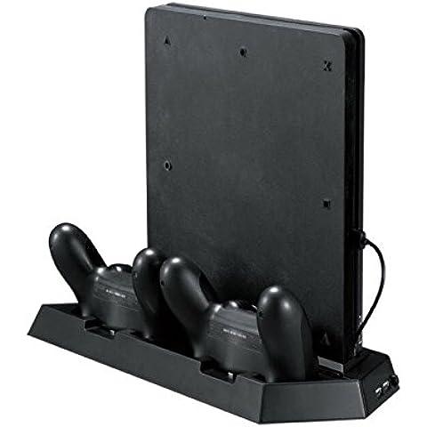 QUMOX Cargador Dual Dock de carga & USB Hub & Ventilador de refrigeración para PS4 Slim