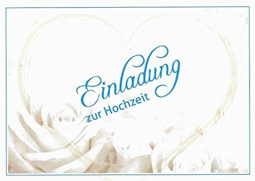 Einladungskarten Hochzeit mit Innentext Motiv weiße Rosen Herz 10 Klappkarten DIN A6 im Querformat mit weißen Umschlägen im Set Hochzeitseinladung vom Brautpaar Vintage Einladung Hochzeit Retro (K22)