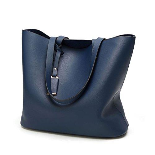 DEERWORD Damen Umhängetaschen Handtaschen Totes Henkeltaschen Schultertaschen Leder Blau -