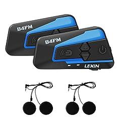 Idea Regalo - LEXIN LX-B4FM Interfono Moto, Moto Auricolare Bluetooth con FM, Comunicazione da 1600m tra 4 Motociclisti, Casco Interfono Bluetooth con Cancellazione del Rumore, Cuffie Interfono Bluetooth per Moto