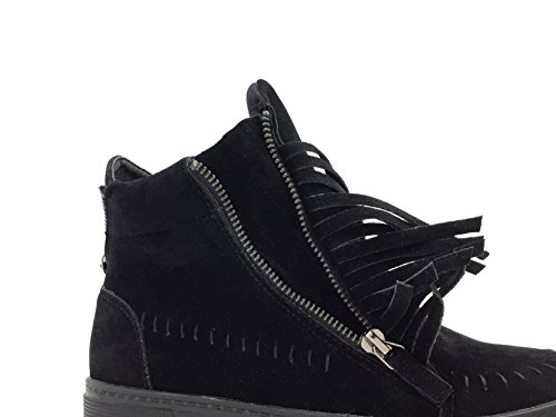 CHIC NANA . Chaussure Mode Baskets femme style daim, frange sur les cotés. Noir