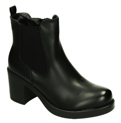 Bequeme Damen Stiefeletten Ankle Boots Plateau Knöchelhohe Stiefel Blockabsatz Kurzschaft 293 (40, Schwarz)