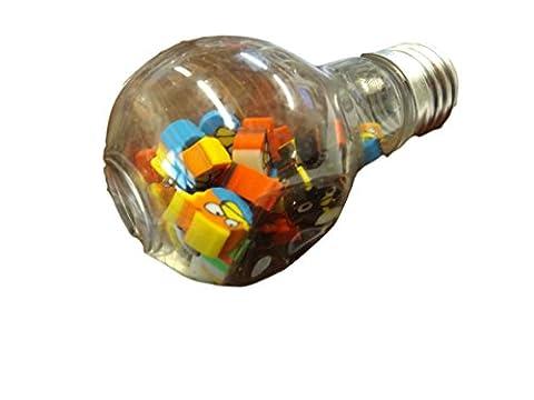One Box of 30+ Mini novelty 3D erasers (randomly selected) inside a plastic LightBulb - by