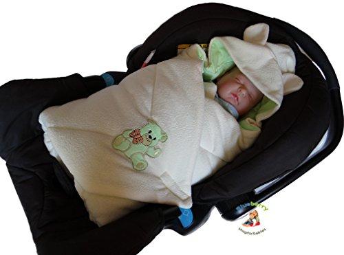 BlueberryShop Thermo Frottee für AUTOSITZ mit Kapuze Wickeldecke Schlafsack für Neugeborene, 100% Baumwolle, 0-4M ( 0-3m ) ( 78 x 78 cm ) Grün