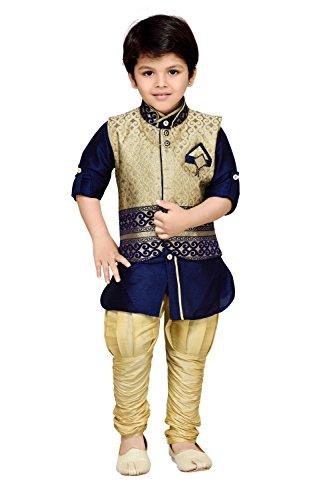 AJ Dezines Kids Kurta Pyjama Waistcoat Set for Boys (636_BLUE_8)