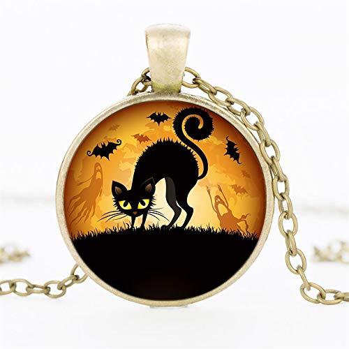 OOFAY Halskette Halloween Cat Bat Time Gem Glas Pendant Tier Rund Metall Männlich/Weiblich Retro Geometrisch 3-Farbig,Gold - Runde Drei-tier-glas