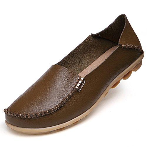 fisca Chaussures de Tanner Surface pilote Bateau Casual en Cuir Flâneur Plat pour femme Marron