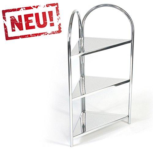 modernes Eck Badregal Küchenregal Badezimmer Eckregal Standregal mit 3 Ablagen - Regal und Fächer aus Metall - CHROM - Chrom-eck-regal