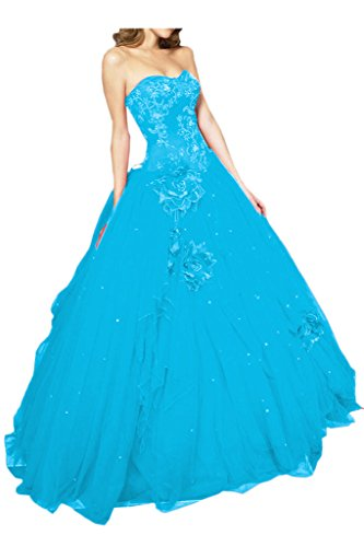 Gorgeous Bride Fashion Lang Traegerlos A-Linie Satin Tuell Abendkleid Abendmode Festkleid Blau