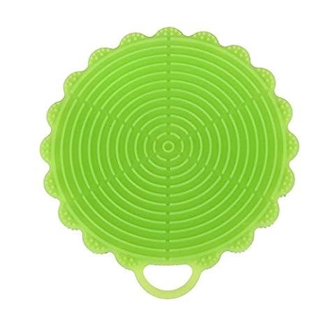 SOMESUN Silicone Chiffon Vaisselle Boules Coupes La lessive boules Éponge Scrubber Cuisine Nettoyage Antibactérien Chiffon Outil (Vert)