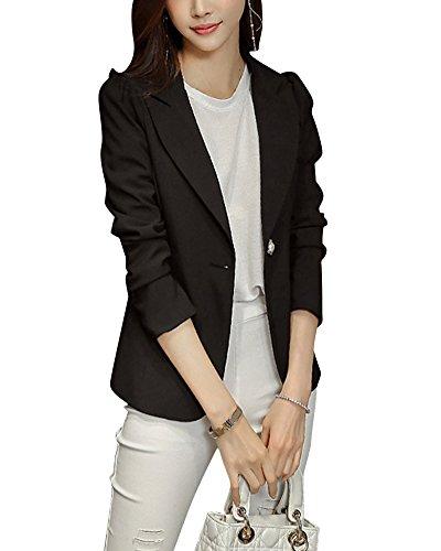 Yonglan donna ufficio casuale tailleur elegante corto blazer carriera giacca plus size nero s