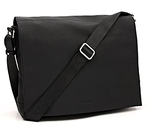 Bovari echt Leder Messenger Bag Umhängetasche Schultertasche Laptoptasche Notebooktasche (bis 15,6 Zoll) Model Metz - 39x31x9 cm - schwarz/black/noir - Limited Premium