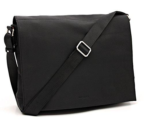 Bovari Echt Leder Messenger Bag Umhängetasche Schultertasche Laptoptasche Notebooktasche (bis 15,6 Zoll) Model Metz - 39x31x9 cm - Schwarz/Black/Noir - Limited Premium Edition (Premium-aktentasche 17)