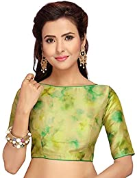 ad9b02c0059344 STUDIO SHRINGAAR POLY RAW SILK MULTI COLOUR TIE DYE READYMADE SAREE BLOUSE  WITH BOAT NECK AND