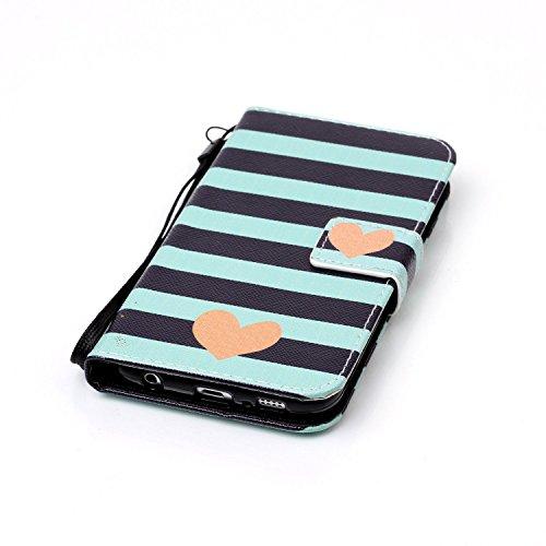 für Smartphone Samsung Galaxy S6 Hülle, Klappetui Flip Cover Tasche Leder [Kartenfächer] Schutzhülle Lederbrieftasche Executive Design +Staubstecker (7OO) 1