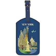 Pacifica Island Art Similicuir étiquette de Bagage avec Motif Classique - New York par Luc-Marie Bayle