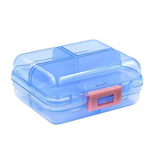 Organizer per pillole, scatola portapillole portatile con 7 scomparti, erogatore settimanale di pillole per le mani, ideale per tablet da viaggio/capsule medicinali/oli di pesce - blu traslucido