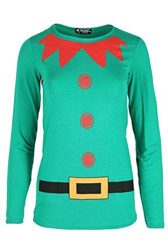 Oops Outlet Kinder Mädchen Elf Kostüm Weihnachten Langarmelige Jersey T Shirt ()