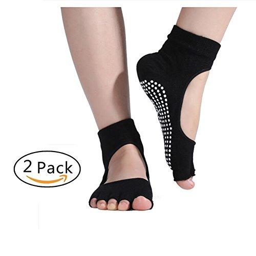 Pormow Yoga Socken,Pilates, Kampfsport, Gym, Tanz, Stange. Rutschschutz/Rutschfest, Prävention Abstürze ,2 Paare (Zehenfreie schwarz)
