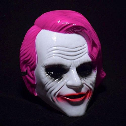 Horrormaske Clownmaske Dark Knight Maske Killer Joker Clown Horror ab 18 Jahre Gruselig Halloween Fashing Karneval Kostüm Erwachsene Rosa (The Dark Knight Masken)