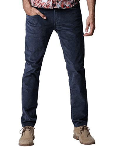 Match Herren Slim-Tapered Flat-Front Casual Kord Hose #8052(8052 Saphir blau,34) (Work Pants Flat Baumwolle Front)