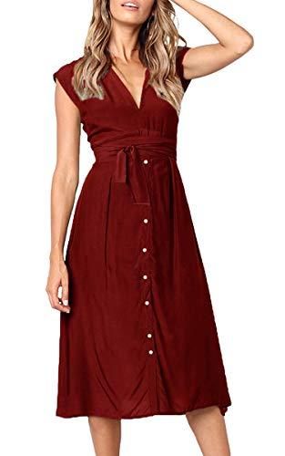 ECOWISH Sommerkleider Damen V-Ausschnitt Gestreift Kleid Ärmellos Midikleid Casual Swing Strandkleid mit Knöpfen 114 Weinrot L