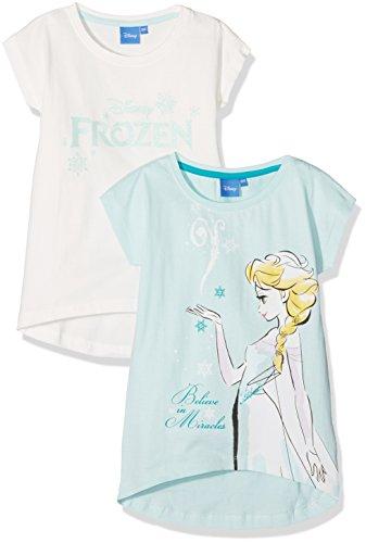 FABTASTICS Mädchen Tshirt Kurzarm Disney Frozen Die Eiskönigin 2er Pack, Mehrfarbig (Snow White Clear Water), 134 (Mädchen Europa T-shirt)