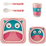Hapsters Bamboo Fibre BPA Free Non Toxic 5pcs Tableware Fun Cartoon Dinner Set for Kids (Pink Owl)
