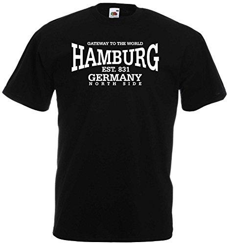 World-of-Shirt Unisex T-Shirt Hamburg Germany North Side|schwarz-XXXL