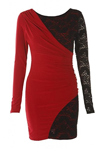 Crazy Girls Drape and Lace Damenkleid mit Spitze Rot Rot