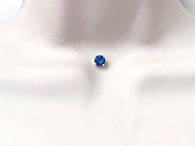 Collier ras du cou strass de swarovski cristal bleu électrique fil de nylon transparent