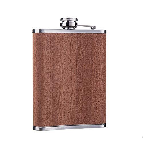 BAYUE 8 Unzen Edelstahl Flachmann mit natürlichem Holz und freiem Trichter (Color : 7OZ) - 8-unzen-natürliche