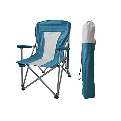 LifeX Outdoor Oxford Tuch Klappsessel Mit Wasser Becherhalter, Tragbare Angeln Zusammenklappbaren Stuhl Camping Fold Up Hocker Strand Lounge Klapp Rückenlehne Sitz (Color : Lake Blue) (Stühle Fold-up Strand)