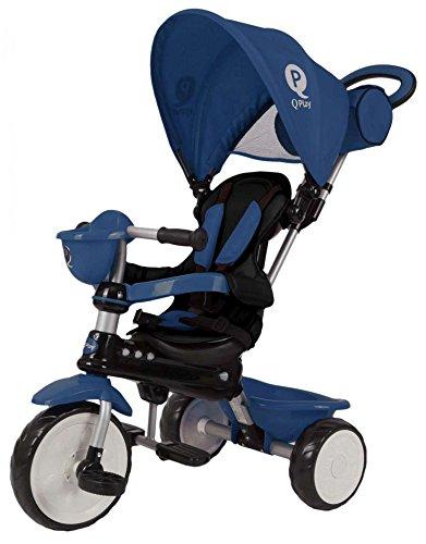 Qplay Qualitäts Kinder Dreirad Comfort 4in1 Blau mit UV-Dach