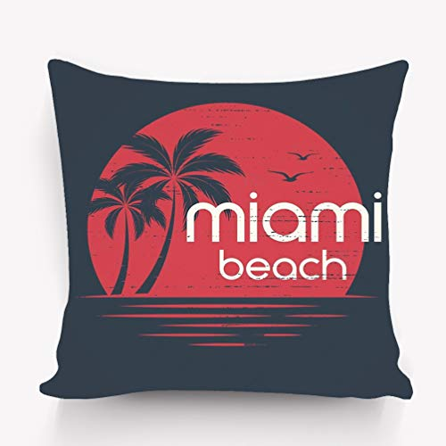 fefgrhy Kissenbezüge Pillow Covers Decorative Pillowcase Cushion Covers with Zipper 18x18 Inches Miami Sunset Apparel Print typograp Miami Sunset Appa (In Happy Miami Halloween)