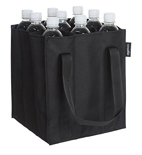 AmazonBasics - Bolsa para botellas, 9 compartimentos, botellas de 0,75 l, Negro