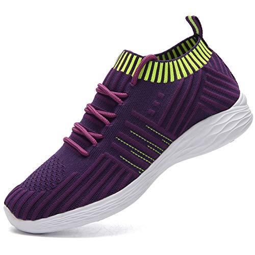 NASONBERG Damen Leichte Laufschuhe Trainer Sneaker Turnschuhe Atmungsaktive Fitnessschuhe Sportschuhe,Lila,40 EU