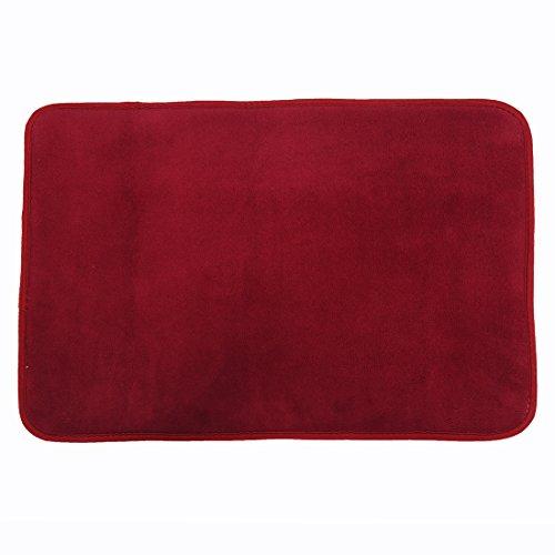 Felpudos de Baño antideslizante de microfibra Felpudo Alfombra superabsorbente de terciopelo de coral de esponja de rebote 40x60cm Rojo vino