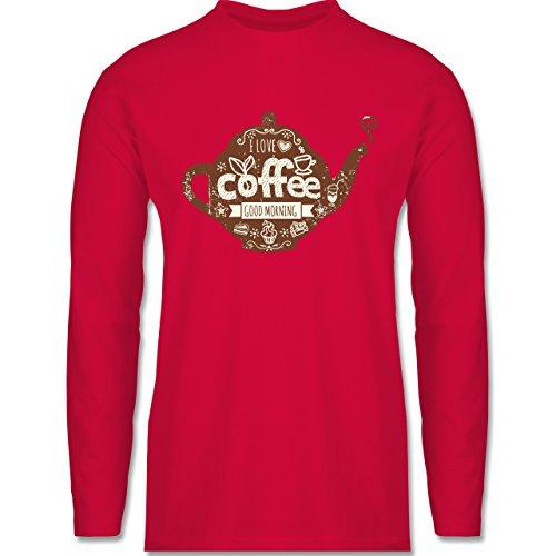 Shirtracer Statement Shirts - I Love Coffee Kanne - Herren Langarmshirt Rot
